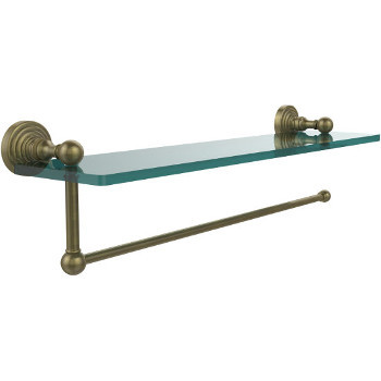 16'' Shelves with Antique Brass and Paper Towel Roll Holder Hardware