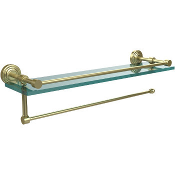 16'' Shelves with Satin Brass and Paper Towel Roll Holder Hardware