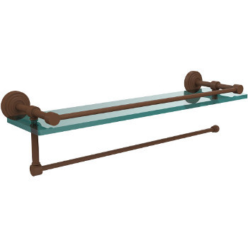 22'' Shelves with Antique Bronze and Paper Towel Roll Holder Hardware