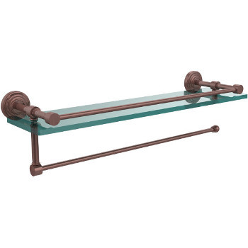 22'' Shelves with Antique Copper and Paper Towel Roll Holder Hardware