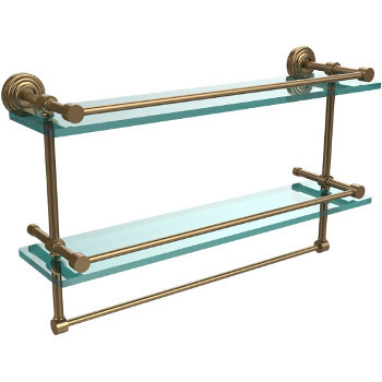 22'' Shelves with Brushed Bronze and Towel Bar Hardware