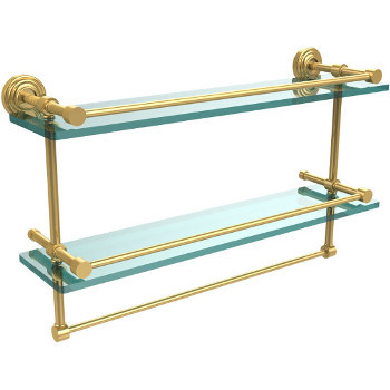 22'' Shelves with Polished Brass and Towel Bar Hardware