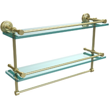 22'' Shelves with Satin Brass and Towel Bar Hardware