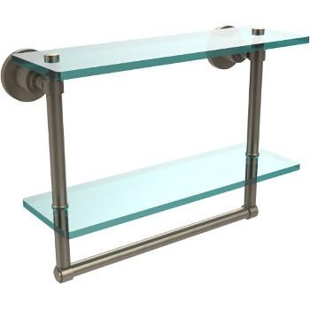 Allied Brass Washington Square Collection 16'' Double Glass Shelf w/Towel Bar, Premium Finish, Antique Copper