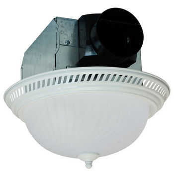 Air King 70 CFM Decorative Round Exhaust Fan with Light, White