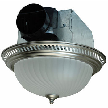 Air King 70 CFM Decorative Round Exhaust Fan in Nickel Finish, with Light