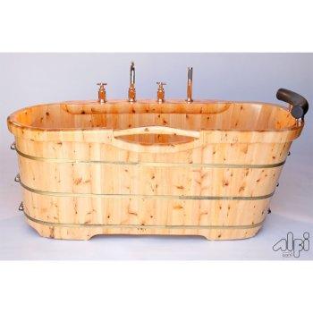 """61"""" Cedar Bathtub w/ Chrome Tub Filler"""