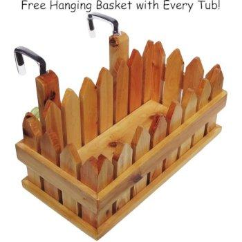 Wooden Hanging Basket Side View
