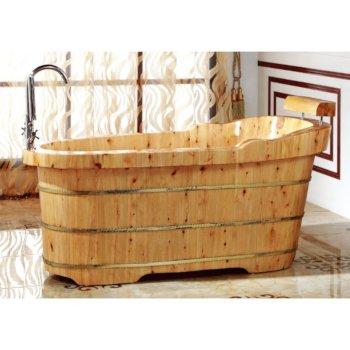 "Alfi brand 61"" Free Standing Cedar Wooden Bathtub  with Fixtures & Headrest, 61"" W x 29-1/2"" D x 23-5/8"" H"