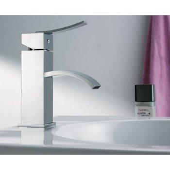 Alfi brand Polished Chrome Square Body Curved Spout Single Lever Bathroom Faucet