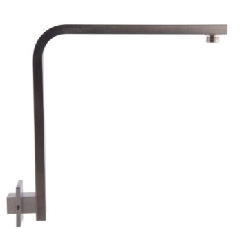 """Alfi brand Brushed Nickel 12"""" Square Raised Wall Mounted Shower Arm, 13"""" W x 11-5/16"""" D x 2-3/8"""" H"""