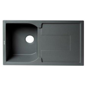 "ALFI brand 34"" Single Bowl Granite Composite Kitchen Sink with Drainboard in Titanium, 33-7/8"" W x 19-3/4"" D x 9-1/16"" H"