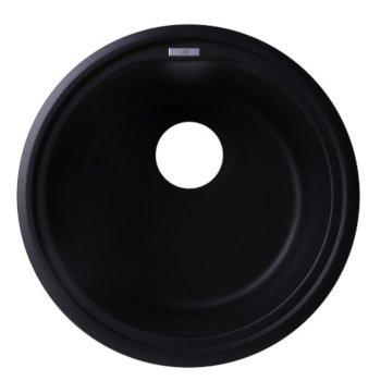 "Alfi brand Black 17"" Drop-In Round Granite Composite Kitchen Prep Sink, 17"" Diameter x 8-1/4"" H"