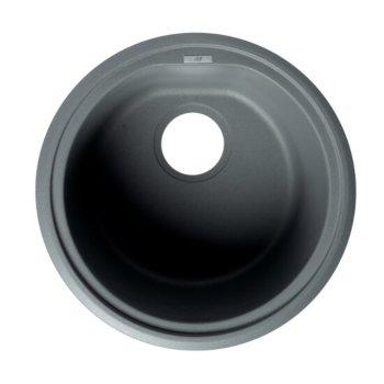"ALFI brand 17"" Drop-In Round Granite Composite Kitchen Prep Sink in Titanium, 17"" Diameter x 8-1/4"" H"