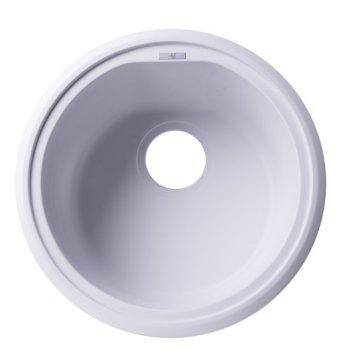 """Alfi brand White 17"""" Drop-In Round Granite Composite Kitchen Prep Sink, 17"""" Diameter x 8-1/4"""" H"""