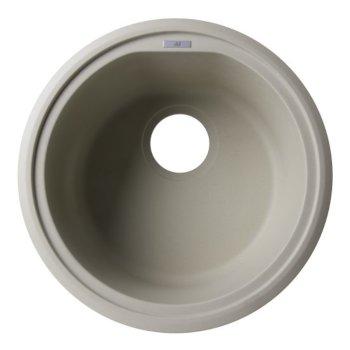 """Alfi brand Biscuit 17"""" Undermount Round Granite Composite Kitchen Prep Sink, 17"""" Diameter x 8-1/4"""" H"""