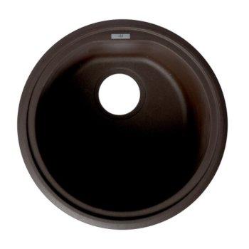 """ALFI brand 17"""" Undermount Round Granite Composite Kitchen Prep Sink in Chocolate, 17"""" Diameter x 8-1/4"""" H"""