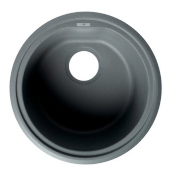 "ALFI brand 17"" Undermount Round Granite Composite Kitchen Prep Sink in Titanium, 17"" Diameter x 8-1/4"" H"