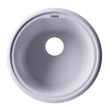 """Alfi brand White 17"""" Undermount Round Granite Composite Kitchen Prep Sink, 17"""" Diameter x 8-1/4"""" H"""