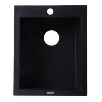 "Alfi brand Black 17"" Drop-In Rectangular Granite Composite Kitchen Prep Sink, 16-1/8"" W x 19-7/8"" D x 8-1/4"" H"