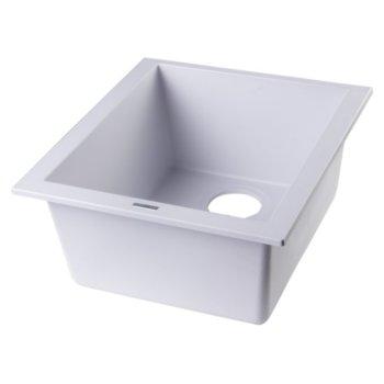 """Alfi brand White 17"""" Undermount Rectangular Granite Composite Kitchen Prep Sink, 16-1/8"""" W x 17"""" D x 8-1/4"""" H"""