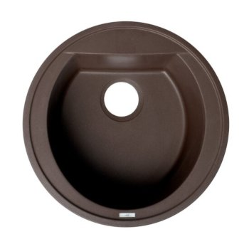 "ALFI brand 20"" Drop-In Round Granite Composite Kitchen Prep Sink in Chocolate, 20-1/8"" Diameter x 8-1/4"" H"