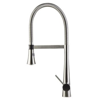 "Alfi brand Brushed Gooseneck Single Hole Faucet with Spray Head in Stainless Steel, 22"" H"