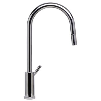 "Alfi brand Solid Polished Stainless Steel Single Hole Pull Down Kitchen Faucet, 16-7/8"" H"