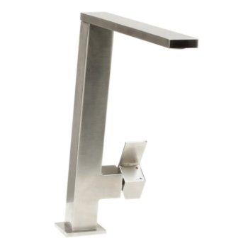 "Alfi brand Square Modern Brushed Stainless Steel Kitchen Faucet, 10-3/8"" H"