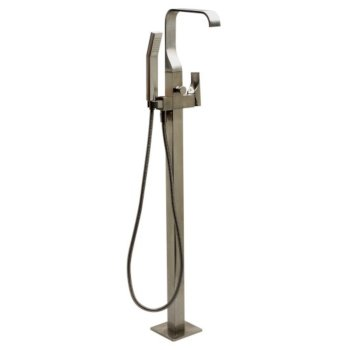 "Alfi brand Brushed Nickel Single Lever Floor Mounted Tub Filler Mixer w Hand Held Shower Head, 42"" W x 8"" D x 1"" H"