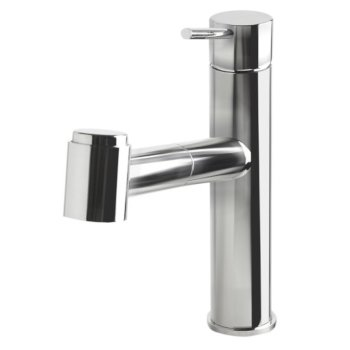 "Alfi brand Polished Stainless Steel Kitchen Faucet /w Pull-Out Spray, 9-1/8"" H"