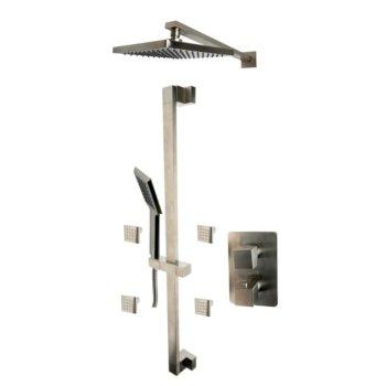 "ALFI brand 3-Way Thermostatic Shower Set with Body Sprays in Brushed Nickel, 16-5/8"" W x 29-3/4"" D x 36-1/4"" H"