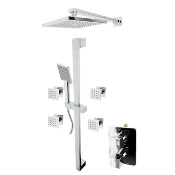"""ALFI brand 3-Way Thermostatic Shower Set with Body Sprays in Polished Chrome, 16-5/8"""" W x 29-3/4"""" D x 36-1/4"""" H"""