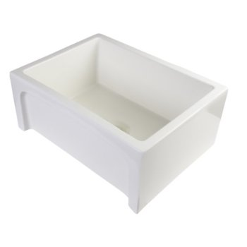 """Alfi brand 24"""" Biscuit Arched Apron Thick Wall Fireclay Single Bowl Farm Sink, 23-5/8"""" W x 18"""" D x 10"""" H"""