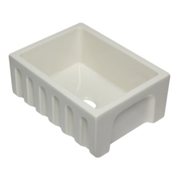"Alfi brand 24"" Biscuit Reversible Smooth / Fluted Single Bowl Fireclay Farm Sink, 24"" W x 18-1/8"" D x 10"" H"