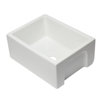 "Alfi brand 24"" White Reversible Smooth / Fluted Single Bowl Fireclay Farm Sink, 24"" W x 18-1/8"" D x 10"" H"