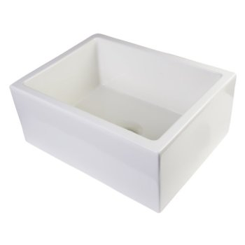 "Alfi brand 24"" Biscuit Smooth Thick Wall Fireclay Single Bowl Farm Sink, 23-5/8"" W x 18"" D x 10"" H"