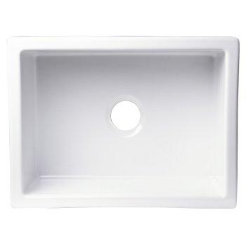 """Alfi brand 24"""" x 18"""" Undermount White Fireclay Kitchen Sink, 24"""" W x 18"""" D x 10"""" H"""