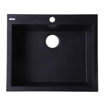 "Alfi brand Black 24"" Drop-In Single Bowl Granite Composite Kitchen Sink, 23-5/8"" W x 20-1/8"" D x 8-1/4"" H"