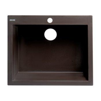 "ALFI brand 24"" Drop-In Single Bowl Granite Composite Kitchen Sink in Chocolate, 23-5/8"" W x 20-1/8"" D x 8-1/4"" H"