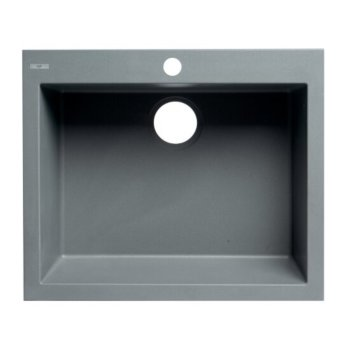 "ALFI brand 24"" Drop-In Single Bowl Granite Composite Kitchen Sink in Titanium, 23-5/8"" W x 20-1/8"" D x 8-1/4"" H"