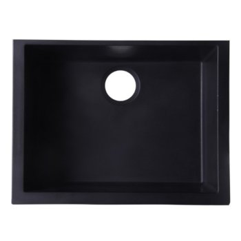 "Alfi brand Black 24"" Undermount Single Bowl Granite Composite Kitchen Sink, 23-5/8"" W x 16-7/8"" D x 8-1/4"" H"