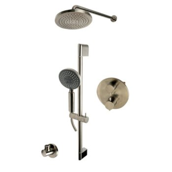 """ALFI brand Round Style 2-Way Thermostatic Shower Set in Brushed Nickel, Shower Height: 23-1/8"""" H, Spout Reach: 16-3/4"""" D"""