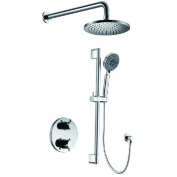 """ALFI brand Round Style 2-Way Thermostatic Shower Set in Polished Chrome, Shower Height: 23-1/8"""" H, Spout Reach: 16-3/4"""" D"""