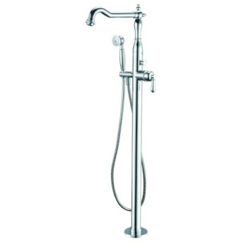 """ALFI brand Free Standing Floor Mounted Bath Tub Filler in Polished Chrome, Faucet Height: 44-3/4"""" H, Spout Reach: 9"""" D, Spout Height: 39-3/8"""" H"""