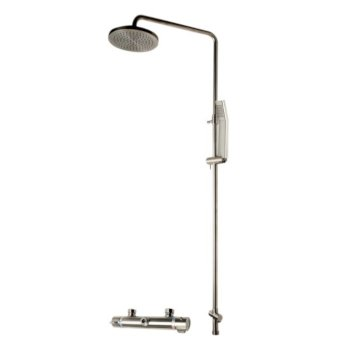 """ALFI brand Round Style Thermostatic Exposed Shower Set in Brushed Nickel, Shower Height: 52-1/8"""" H, Spout Reach: 8"""" D, Spout Height: 47-5/8"""" H"""