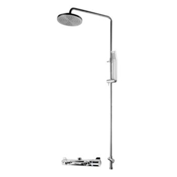"""ALFI brand Round Style Thermostatic Exposed Shower Set in Polished Chrome, Shower Height: 52-1/8"""" H, Spout Reach: 8"""" D, Spout Height: 47-5/8"""" H"""