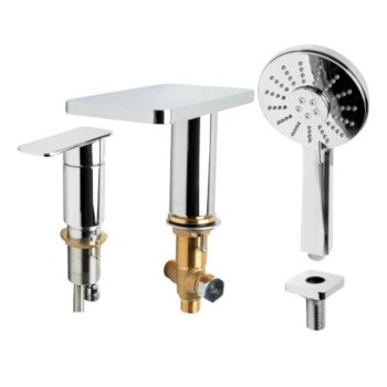 """ALFI brand Deck Mounted Tub Filler with Hand Held Showerhead in Polished Chrome, Faucet Height: 5"""" H, Spout Reach: 4-3/4"""" D"""