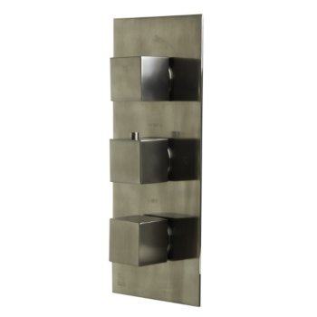 """Alfi brand Brushed Nickel Concealed 4-Way Thermostatic Valve Shower Mixer /w Square Knobs, 12-1/2"""" W x 5-5/8"""" D x 2"""" H"""