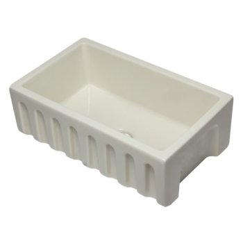 "Alfi brand 30"" Biscuit Reversible Smooth / Fluted Single Bowl Fireclay Farm Sink, 29-7/8"" W x 18-1/8"" D x 10"" H"